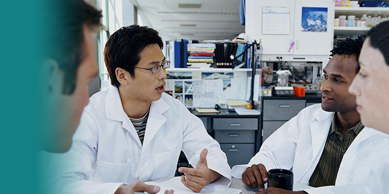 Scientists having a conversation