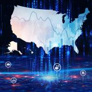 Visual representation of data within a map of the United States surrounded by health- and data-related icons.