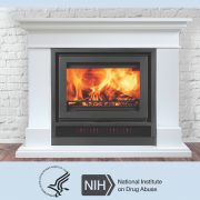 Fireplace with DHHS and National Institute on Drug Abuse logos