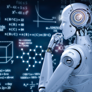 Artificial Intelligence robot thinking in front of scientific figures